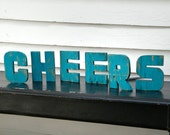 Cheers Wooden Sign Toast Greeting Bar Sign Mid Century Modern, Retro Lounge Style