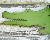 Wooden Alligator Sign Large Scale Preppy Wall Decor Zoo Jungle Wall Art Florida Gator Alligator Nursery