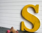 """S Letter Wood Sign, Sunflower Yellow 10"""" Serif Letter, Upper Case Wood Sign -Ready to Ship Item"""