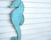 Seahorse Wooden Sign Beach Coastal Cottage Sign