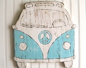 VW Bus Sign Beach Bus Summer Peace Microbus Beach House Wall Decor