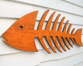 Fish Skeleton Sign Wooden Fish Art Beach Cottage Fish Decor Coastal Decor Indoor Patio Outdoor Sign