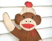 Sock Monkey Wooden Sign Kids Room Wall Decor