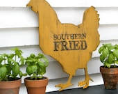 Chicken Sign Southern Fried Roadside Sign Hen Kitchen Wall Decor
