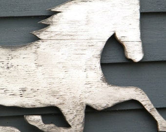 Horse Wooden Sign White Washed Distressed Large Size As Seen in JUNE 2015 Country Living Magazine