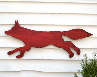 Fox Wooden Sign Red Fox Running Large Scale Shabby Chic Cottage Autumn Woodland