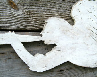 Christmas Angel Rustic Folk Art Holiday Decor Wooden Trumpeting Angel