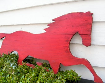 Wooden Horse Sign Barnwood Red Distressed Large Size Equestrian Antique Style
