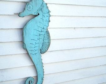 Seahorse Decor Wooden Sign Beach Coastal Cottage Seahorse Wall Decor