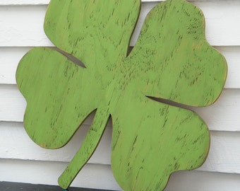 Shamrock Wood Sign Lucky Four Leaf Clover St Patrick's Day Wall Decor