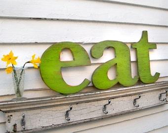 eat Letter Sign Lower Case Letters Kitchen Sign Wooden eat Sign