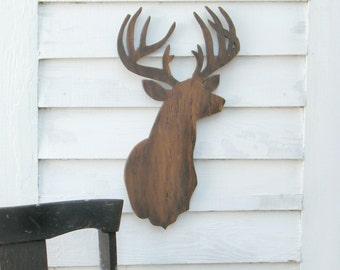 Modern Deer Sign Brown Wooden Trophy Buck Rustic Woodland Large Size
