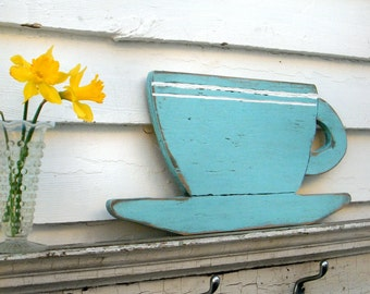 Coffee Cup Kitchen Wall Decor Distressed Large Size Wooden Coffee Sign