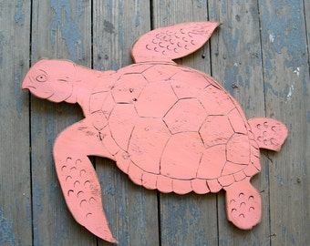 Turtle Wall Art Large Swimming Turtle Wooden Beach Decor Coastal Decor Ocean
