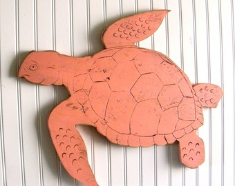 Sea Turtle Sign Small Swimming Wooden Turtle Sign Beach Coastal Ocean