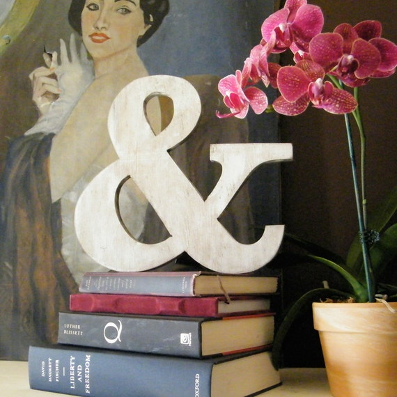 Ampersand (&) Wood Sign Wedding Photo Prop White Shabby Chic
