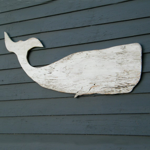 Whale White Moby Dick Supersized Whale Wood Folk Art Sign Nautical Decor Wooden Whale Cutout