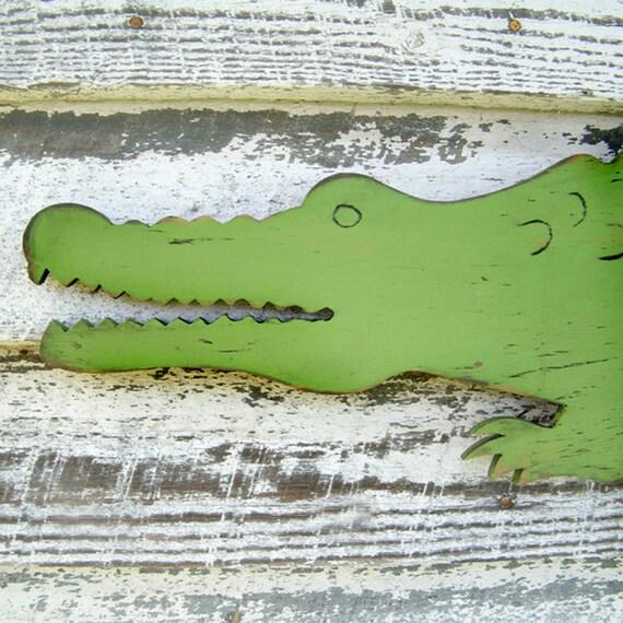 Wooden Alligator Sign Large Scale Preppy Wall Decor Zoo Jungle Wall Art Florida Gator Alligator Nursery