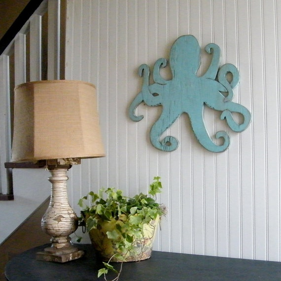 Octopus Wooden Coastal Wall Decor Beach Octopi Wall Art
