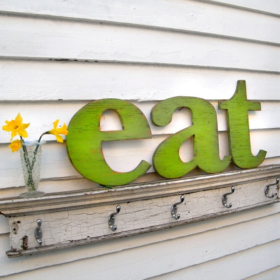 eat Letter Sign Lower Case Letters Kitchen Sign Wood Sign