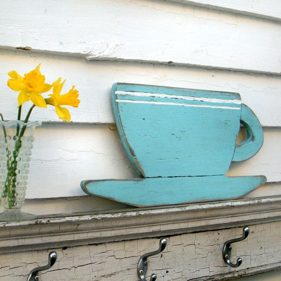 Coffee Cup Kitchen Wall Decor Distressed Large Size Wooden