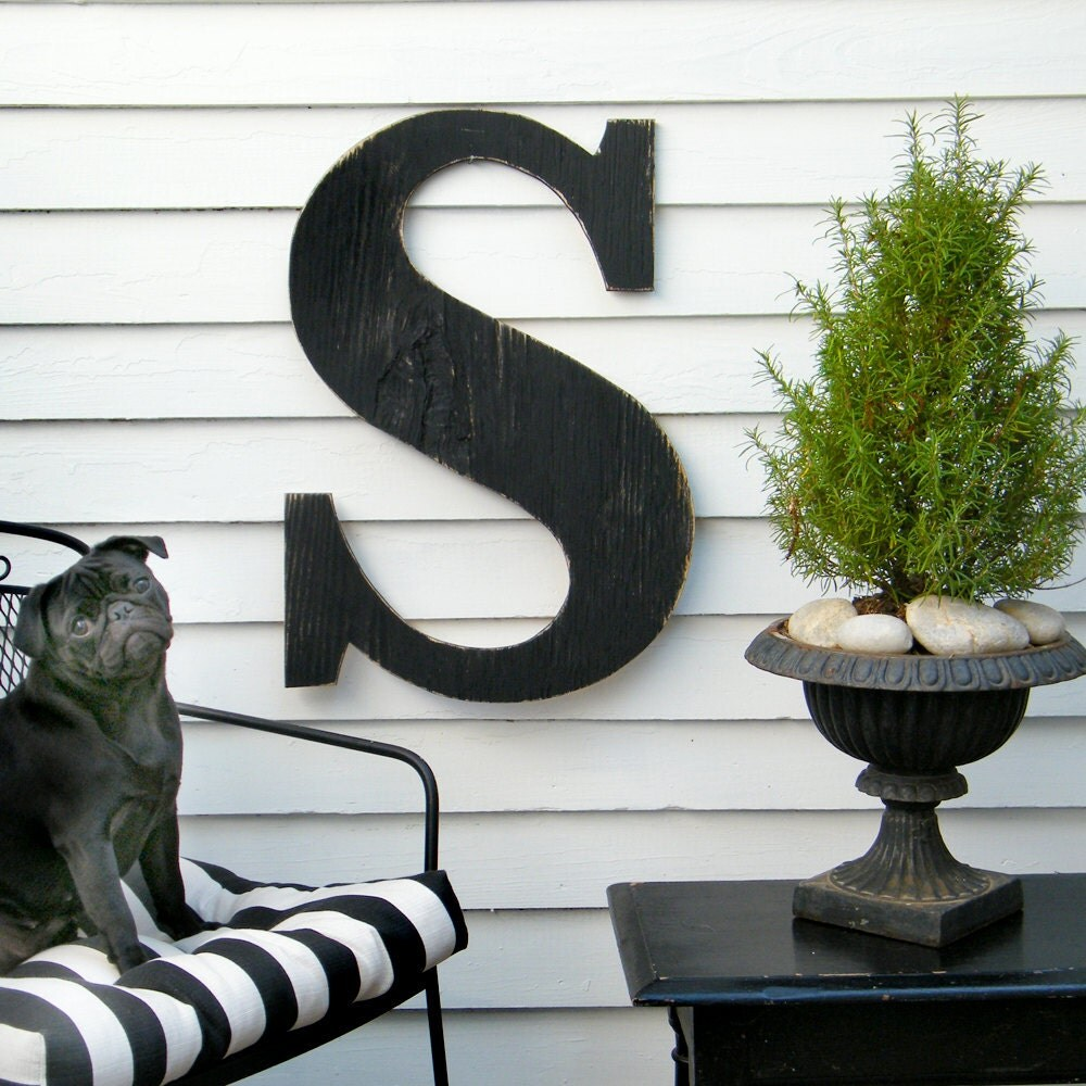 24 extra large letter large wood letters shabby by slippinsouthern. Black Bedroom Furniture Sets. Home Design Ideas