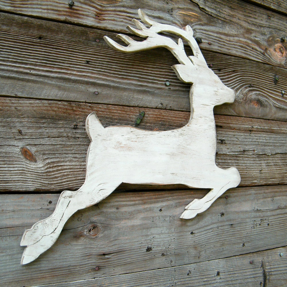 Reindeer Christmas Decoration White Reindeer Silhouette Wooden
