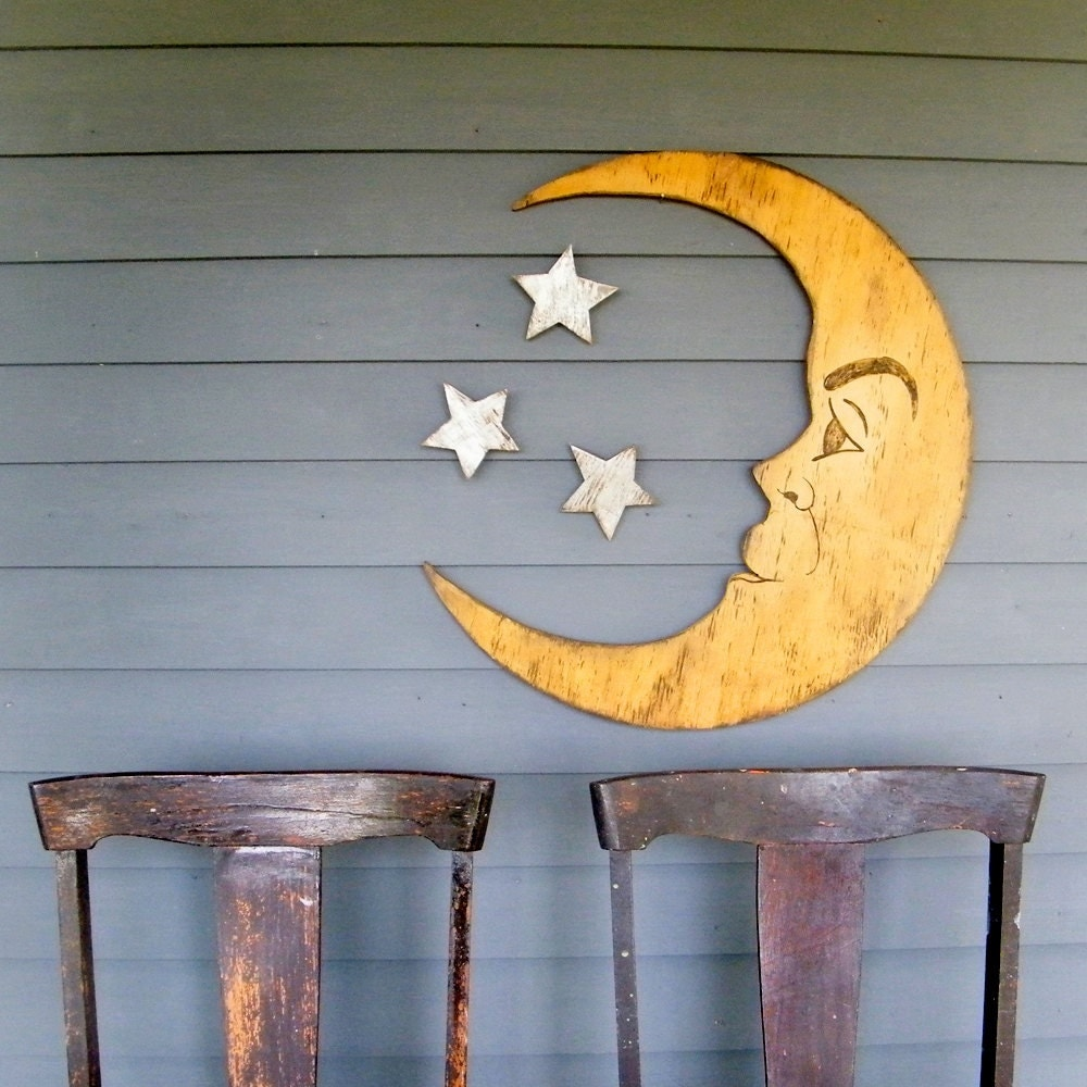 moon sign nursery decor man in the moon large scale crescent. Black Bedroom Furniture Sets. Home Design Ideas