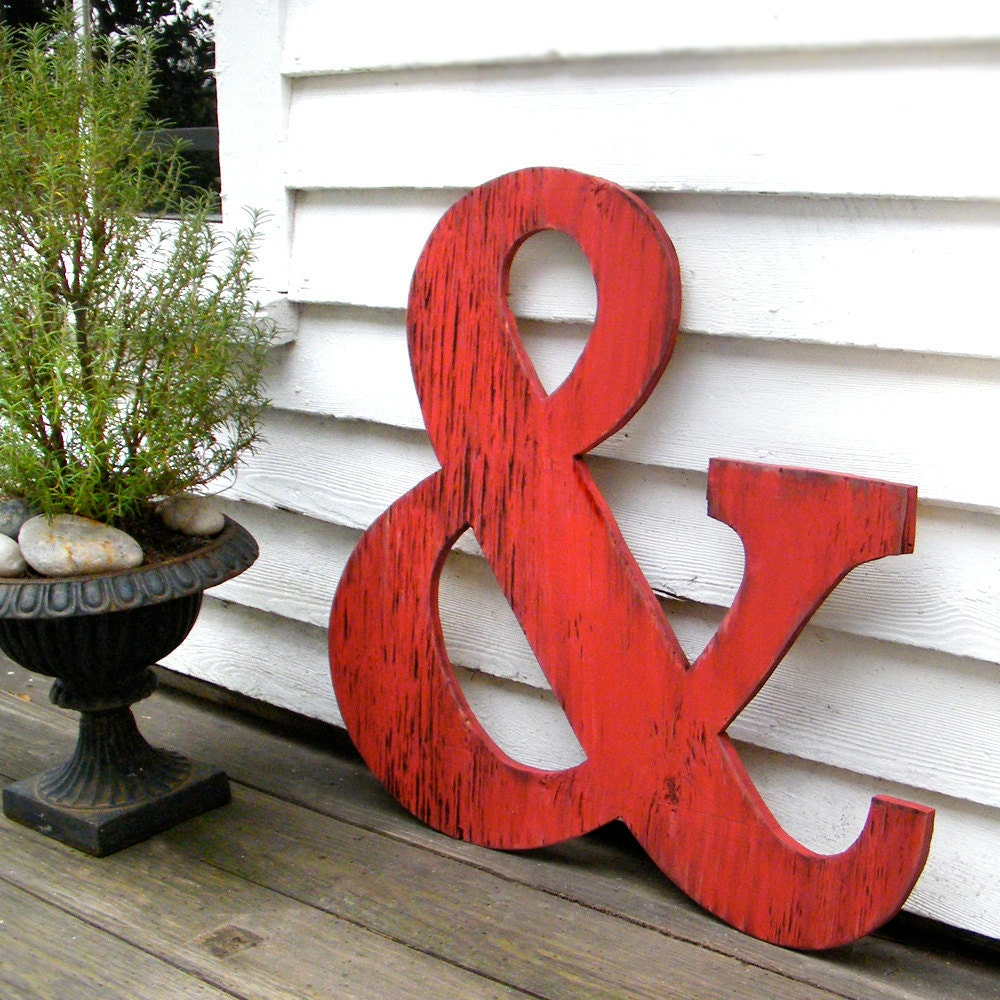 Big ampersand large wooden letters 24 big wooden letters for Large initial letters