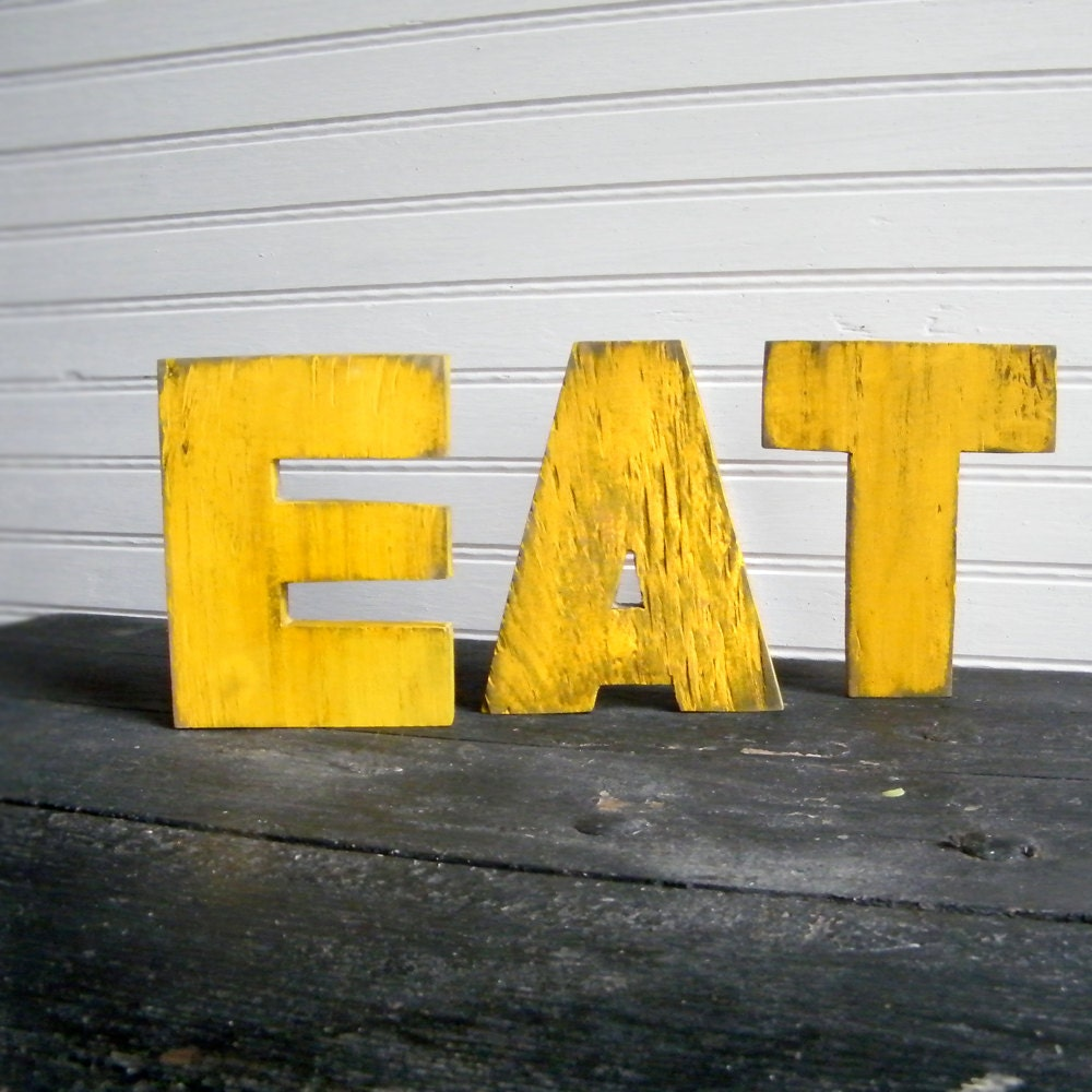Eat word set yellow wood letters kitchen by slippinsouthern for Kitchen set letter l