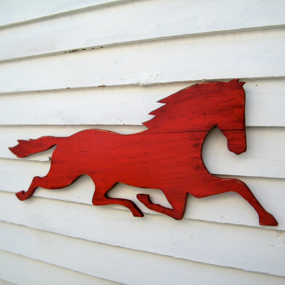 Wooden Horse Sign Barnwood Red Distressed Large By