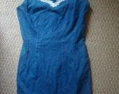 Sweetheart of the Rodeo Denim Jean Bodycon Mini Dress - Small