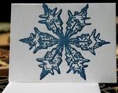 6 Letterpress Blue Snowflake Greetings