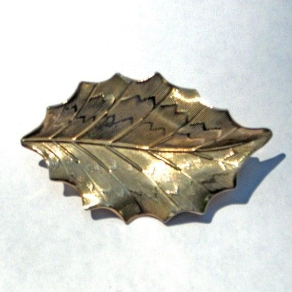 Vintage leaf metal pin brooch