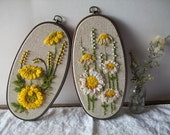 vintage embroidery bead and yarn mix art - sun flowers - upcycle or repurpose