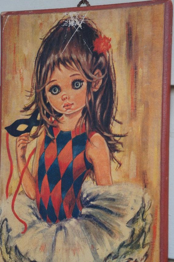 Beautiful Vintage Ballerina Dancer Wall Hangings - Wooden Beauty Who Appears to Wait for Applaud
