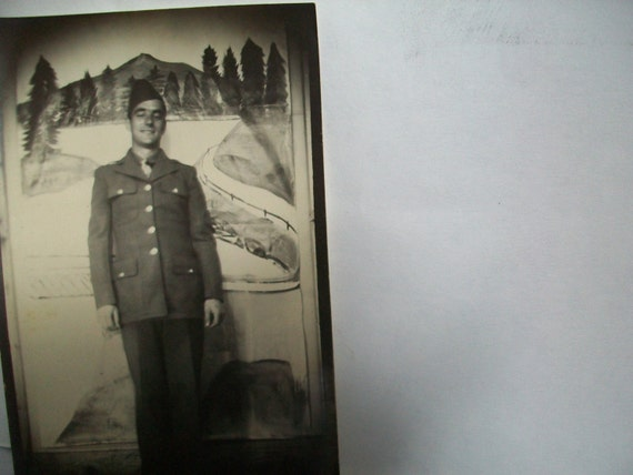 late 1950s black & white photograph of young soldier - paper emphemera - happy soldiers