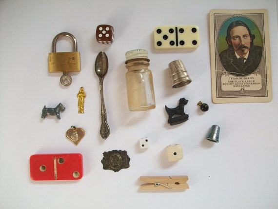 found objects - vintage pieces for mixed media collage or assemblage art