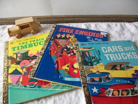 vintage Little Golden Books - instant collection - set of 3 children's books