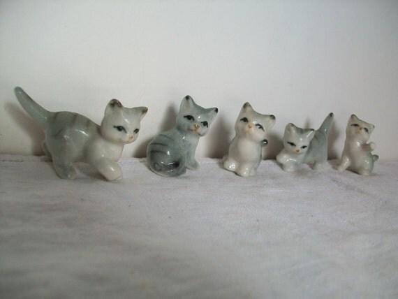 set of 5 tiny kittens - vintage little kitties - miniatures