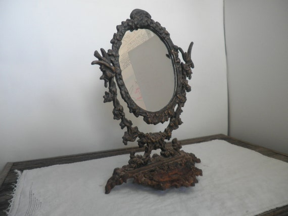 vintage cast iron vanity mirror - vintage vanity - victorian - gothic - shabby chic - vintage frame