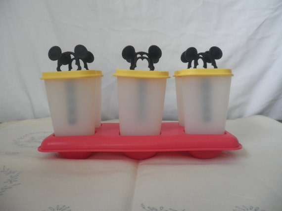Tupperware Mickey Mouse popsicle molds . vintage ice molds . summertime frozen treats . vintage Disney