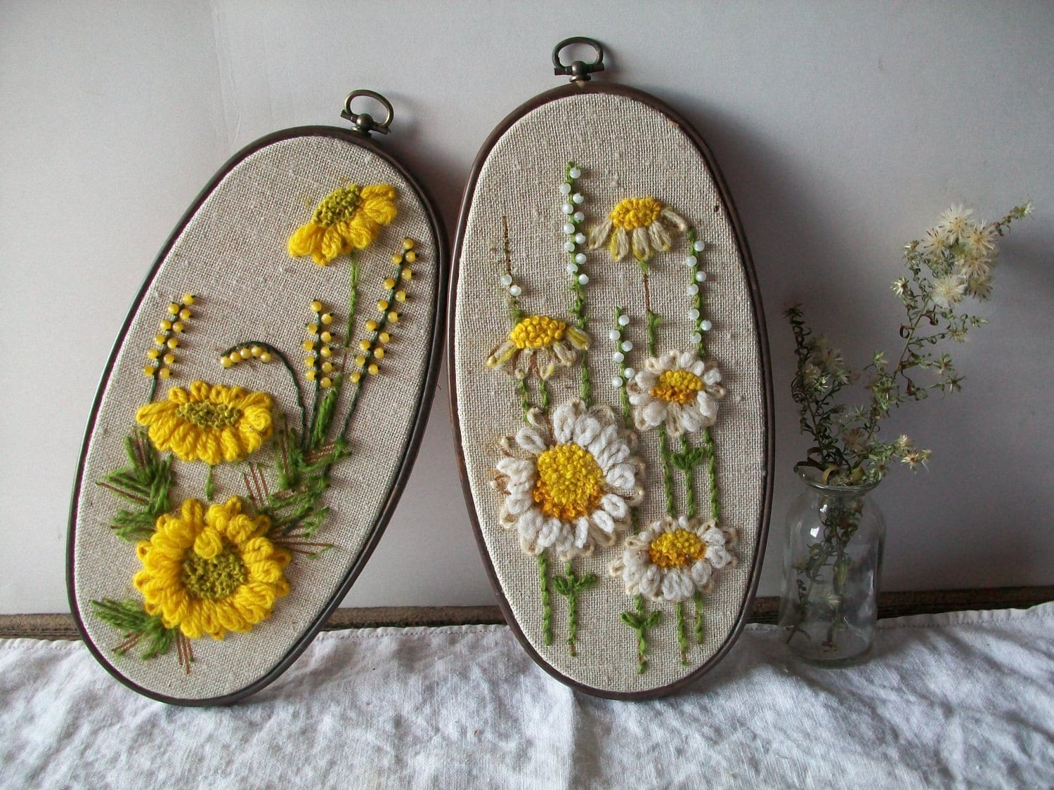 Vintage Embroidery Bead And Yarn Mix Art Sun Flowers