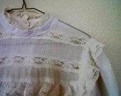 SMMR SALE white gauze dress, in the style of gunne sax, s-m