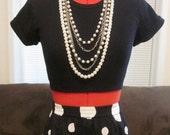 Vintage 80s/90s Long Maxi Skirt - Black/White Polka Dot (Size XS/S)