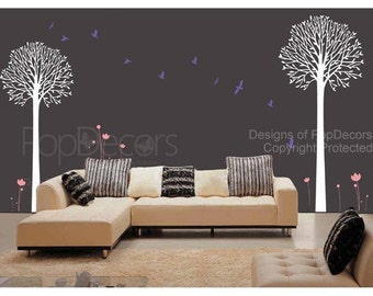 Vinyl Wall Stickers Art Decals - Two Big Cool Trees - living room Bedroom Wall Graphic by PopDecors