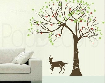 Big Tree and Antelope(83inch H) - Removable Home Wall Decor by Popdecors