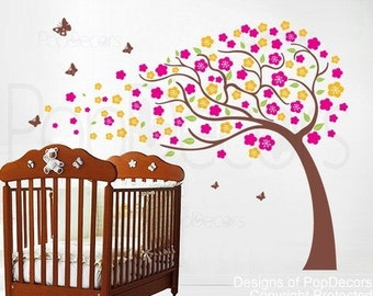 Flower Tree Decals Floral Wall Decal Baby Girl Room Decal Nursery Decors- Flower Tree(71inch H) -Designed by Pop Decors