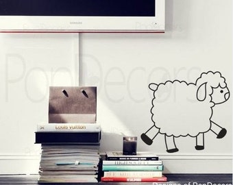 On sale - Cute sheep - (10  inch H) - Wall  Decals Stickers Home Decor by Pop Decors