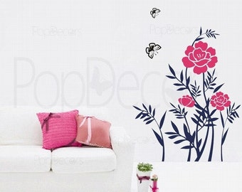 Beautiful Peony- (32inch H) - Wall  Decals Stickers Home Decor by Pop Decors